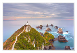 Póster Premium Nugget Point Lighthouse in New Zealand