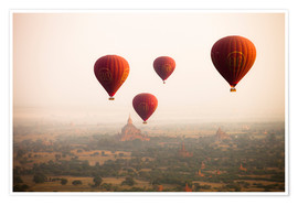 Póster Premium  Aerial view of balloons over the ancient temples in Myanmar - Harry Marx