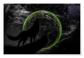 Póster Premium  Werewolf and scary moon