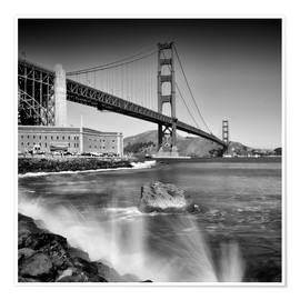 Póster Premium  Golden Gate Bridge with breakers - Melanie Viola