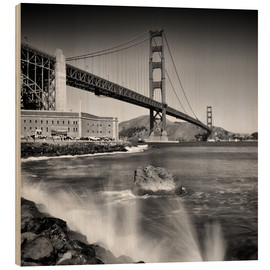 Quadro de madeira  Golden Gate Bridge with breakers - Melanie Viola