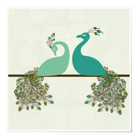 Póster Premium  two peacocks