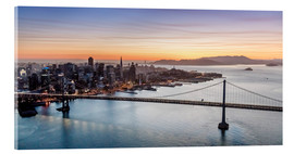 Quadro em acrílico  Aerial view of San Francisco at sunset, USA - Matteo Colombo