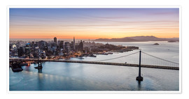 Póster Premium  Aerial view of San Francisco at sunset, USA - Matteo Colombo