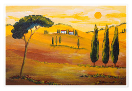 Póster Premium  Sunshine in Tuscany in the Morning - Christine Huwer