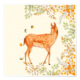 Póster Premium Magical Deer in Forest