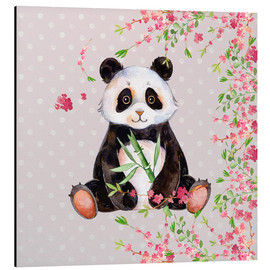 Quadro em alumínio  Little panda bear with bamboo and cherry blossoms - UtArt