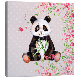 Quadro em tela  Little panda bear with bamboo and cherry blossoms - UtArt