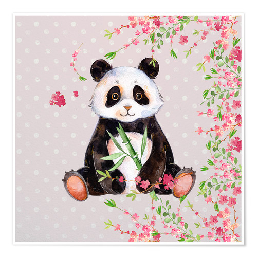Póster Premium Little panda bear with bamboo and cherry blossoms