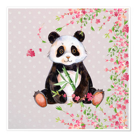 Póster Premium  Little panda bear with bamboo and cherry blossoms - UtArt