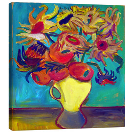 Quadro em tela  Sunflower in front of turquoise wall - Diego Manuel Rodriguez