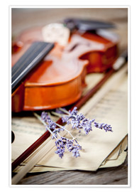 Póster Premium  Vintage composition with violin and lavender