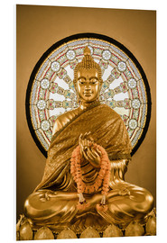 Quadro em PVC  Buddha statue and Wheel of life background