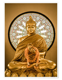 Póster Premium  Buddha statue and Wheel of life background