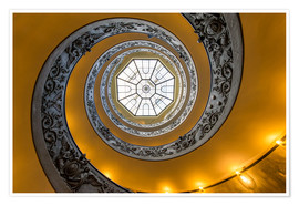 Póster Premium Spiral staircase in the Vatican Museum, Italy