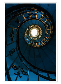 Póster Premium Spiral staircase in blue colors