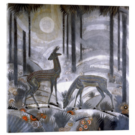 Quadro em acrílico  Two deer in the woods - Jean Dunand