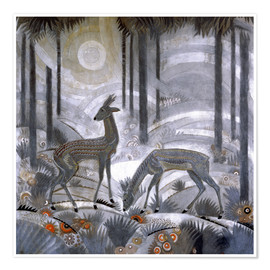 Póster Premium  Two deer in the woods - Jean Dunand