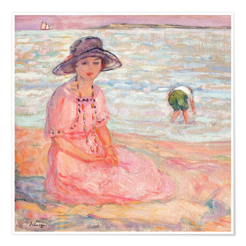 Póster Premium Woman in the Pink Dress by the Sea