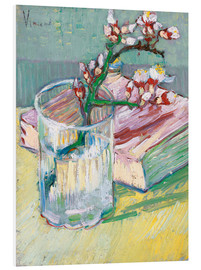 Quadro em PVC  Flowering almond branch in a glass with a book - Vincent van Gogh
