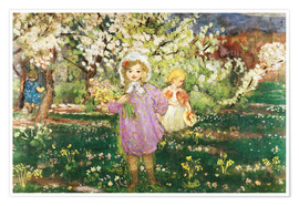 Póster Premium Children in an Orchard in Blossom