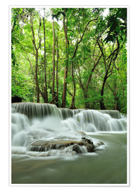 Póster Premium  Waterfall in forest of Thailand
