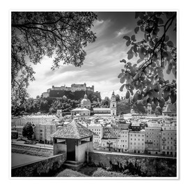 Póster Premium SALZBURG Gorgeous Old Town with Citywall | Monochrome
