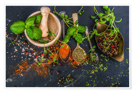 Póster Premium  Mortar with herbs and spice