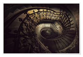 Póster Premium Spiral staircase in brown