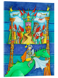 Quadro em acrílico  Knights Dragon and the Knight's Castle - Atelier BuntePunkt