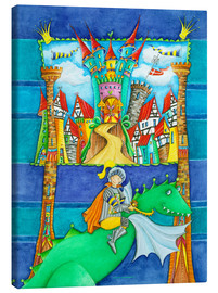Quadro em tela  Knights Dragon and the Knight's Castle - Atelier BuntePunkt