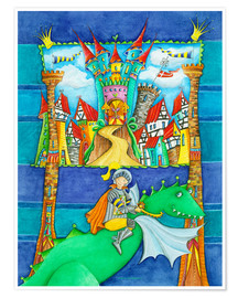 Póster Premium  Knights Dragon and the Knight's Castle - Atelier BuntePunkt