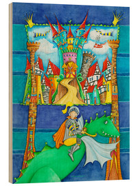 Quadro de madeira  Knights Dragon and the Knight's Castle - Atelier BuntePunkt
