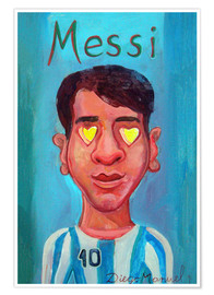 Póster Premium Messi and heart