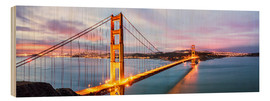 Quadro de madeira  Panoramic of Golden gate bridge, San Francisco, USA - Matteo Colombo