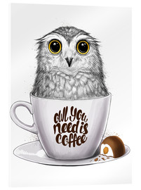 Quadro em acrílico  Owl you need is coffee - Nikita Korenkov