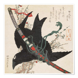 Póster Premium  The little raven with the minamoto clan sword - Katsushika Hokusai