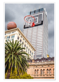 Póster Premium  Basketball hoop on skyscraper - James Popsys