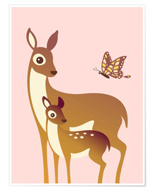 Póster Premium  Mom And Baby Deer With Butterfly - Ashley Verkamp