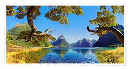 Póster Premium  Look in the Milford Sound New Zealand - Michael Rucker