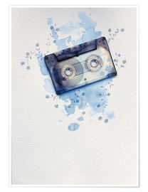 Póster Premium Music tape with flowers and watercolour wash