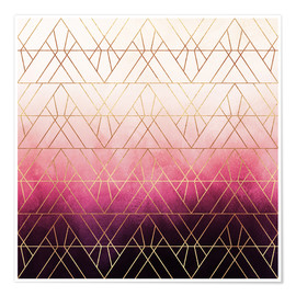 Póster Premium  Pink Ombre Triangles - Elisabeth Fredriksson