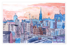 Póster Premium  Edinburgh Sunset Over Old Town Scotland - M. Bleichner
