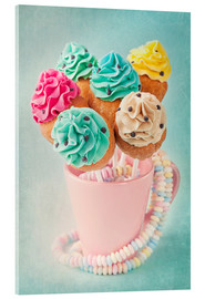 Quadro em acrílico  Colorful cupcake pops on blue background - Elena Schweitzer