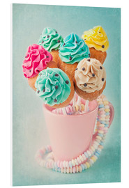Quadro em PVC  Colorful cupcake pops on blue background - Elena Schweitzer