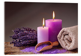 Quadro em acrílico  Spa still life with candles and lavender - Elena Schweitzer