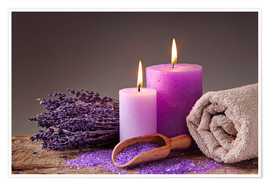 Póster Premium  Spa still life with candles and lavender - Elena Schweitzer