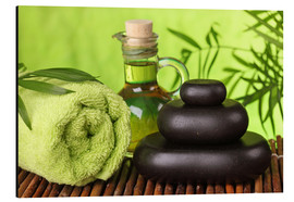 Quadro em alumínio  Spa still life with hot stones and essential oil - Elena Schweitzer