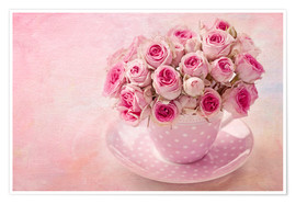 Póster Premium Roses in a cup