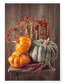 Póster Premium Still life with the pumpkins